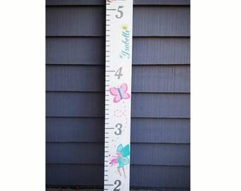 Butterfly, Fairy, Owl, Flowers, Fairy Growth Chart, Custom Hand Painted Wooden Growth Chart,  Oversized Ruler, Baby Shower Gift