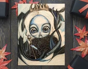 daenerys targaryen as the Night Queen with her dragons original creepy cute halloween art drawing decoration