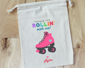 ROLLER SKATE -  Personalized Favor Bags - Set of 10 - RETRO - 80's Party - Roller Derby
