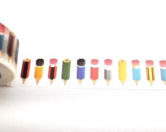 Pencil Washi Tape, Washi Tape, School Washi Tape, Pencils, Planner Tape, Planner Washi, Scrapbook Supplies, Scrapbook Tape, Bullet Journal