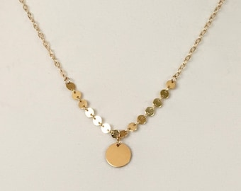 Gold Disc Necklace, Gold Circle Necklace, Gold Disc, Disc Chain
