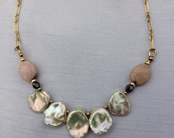 Gold Filled, Keshi Pearl, and Pink Peruvian Opal Necklace