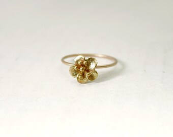 Gold flower ring - blossom ring - stacking rings - bridesmaid gifts