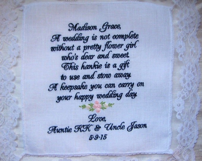 Set of five Flower girl gift personalized wedding handkerchief, hankie, hanky