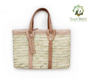 Jakie Small Baskets white leather natural : French Basket, Moroccan Basket, straw bag, french market basket, Beach Bag, straw bag