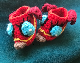 Crocheted baby slippers animal booties