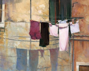 """Italian Laundry Scene in a Quaint Little Village - Limited Edition Oil Painting Gicleé Print on Paper - """"Sunbaithing"""""""