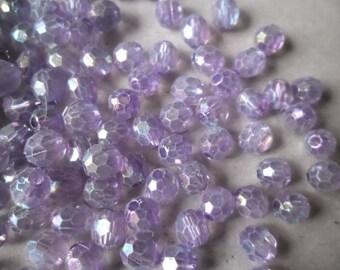 x 25 purple AB acrylic bicone beads 6 x 6 mm