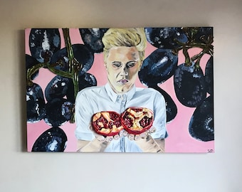 A boy and His fruit acrylic painting