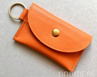 Slim wallet / coin case / Card holder / key case in orange goat skin. wallet with two compartments. Gift under 25