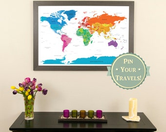 Perfectly pastel world push pin travel map with pins and frame colorful world push pin travel map with pins and frame 24 x 36 push pin travel map map your travels around the world gumiabroncs Image collections