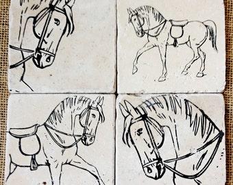 Horse- Coasters, Equestrian Decor, Horse Gift, Horse Decor, Equestrian Gift, Horse Tile, Horse Print, Dressage Gift, Stone, Tile, Horse