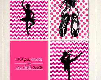 Ballerina wall art, ballerina room decor, ballerina nursery art, baby girl nursery, girls wall art, custom colors, set of 4