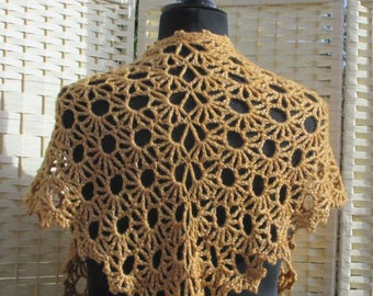 Beautiful Lacy Crochet Shoulder Shawl In Gold Colour