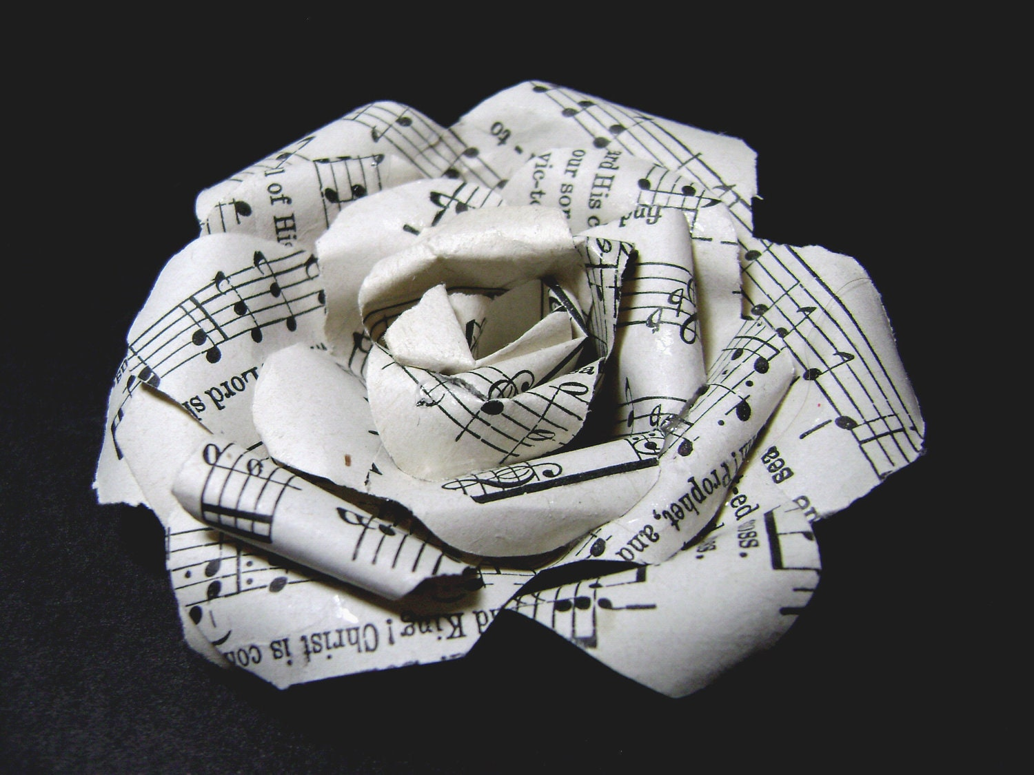 Paper Rose Pin Made With Vintage Hymnal Pages Sheet Music