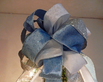 Large soft frozen blue ribbon w/glitter specks soft white and silver glitter Christmas Tree topper bow