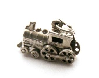 Mechanical Train Engine Bracelet Charm Sterling Silver Steam Locomotive