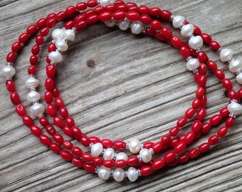 Long red coral necklace, coral and pearls necklace, geneine coral beads, freshwater white pearls with rhinestones, long red necklace woman