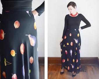 1990s Black Fruit Skirt - S
