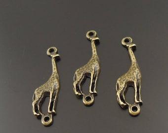 6 connectors in antique bronze giraffe charms