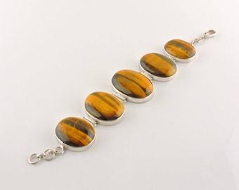 "Sterling Silver Chunky Tigers Eye Bracelet 7 1/2"" (60.5 grams)"