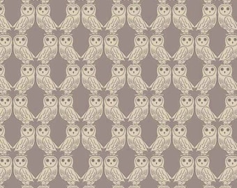 Owl Fabric, Lewis and Irene Fabric, Enchanted Forest LEI A189 1 Owls on Latte, Owl Quilt Fabric, Cotton
