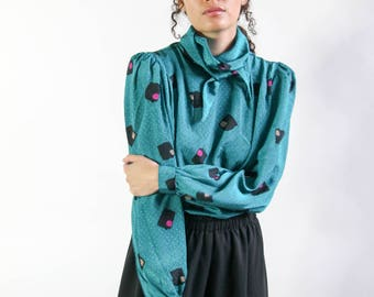 the berliner top -- vintage 80s avant garde abstract high neck blouse S/M
