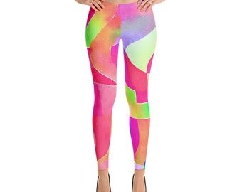 Hot Pink Green Bold Abstract Multi-Color Leggings Form Fitting Yoga Pants