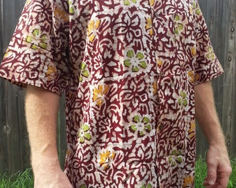 Ethnic Men's Hand Block Printed Indian Woven Cotton Short Sleeve Button Down Pocket Shirt - Size XXL - Burgundy Floral - Lachlan H818