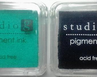 Set of 2 New Hampton Art Studio G Teal & Black Acid Free Pigment Ink Pads For Stamping, Scrapbooking, Paper Crafts, Card Making Non-Toxic