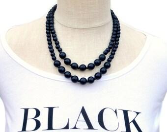 black bead necklace / black beaded necklace / black statement necklace / black wood bead necklace / black bridesmaid necklace / 2 strand