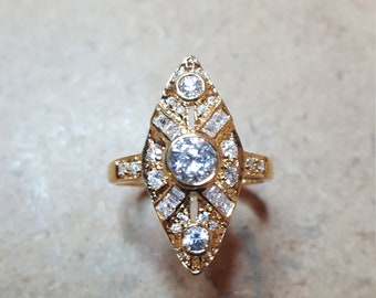 Antique Look Gold Tone & CZ Marquis Shape Ring