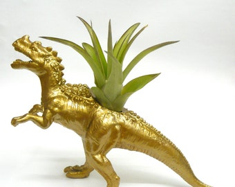 Gold Ceratosaurus Dinosaur Planter with Air Plant // Dinosaur Gift // Coworker Gift // For Her // For Him