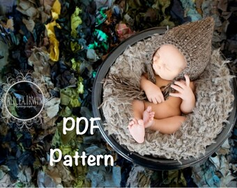 PATTERN:  Violet Pixie Bonnet, newborn baby boy girl gnome flower hat, easy crochet PDF, InSTaNt DiGiTaL DoWnLoAd, Permission to Sell