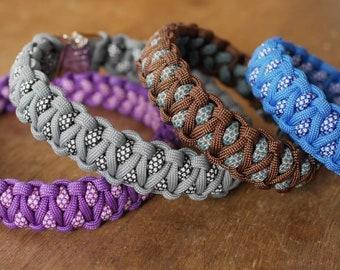 Nosu Pearls Paracord Dog Collar, Multicolour Dog Collar, Handmade Dog Collar