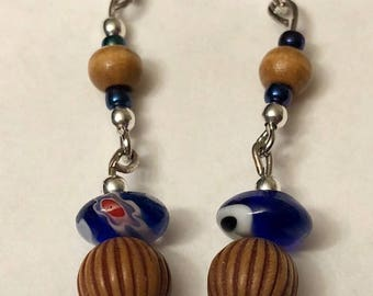 Wood and Glass Drop Earrings, Blue/Brown