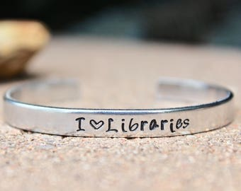 Library Bracelet, I love Libraries, I heart libraries Bracelet, Love Libraries Bracelet, Library Bracelet, Love Library Bangle, Librarian