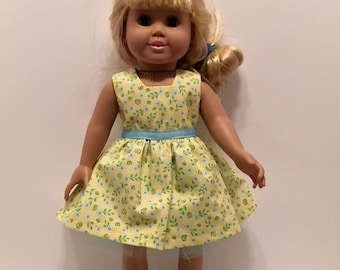 """DD20- 18"""" Doll Dress: Tiny white and blue flower print sleeveed cotton dress with crinoline for the American Girl and Maplelea doll"""