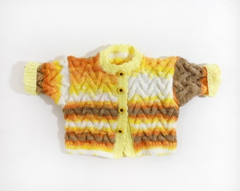 Knitted Baby Jacket - White, Yellow, Orange and Brown, 0 - 6 months, Soft Newborn Cardigan, Cable Knitted Microfiber Jacket, Baby Clothing