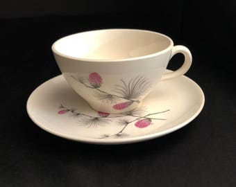 Canonsburg Wild Clover Tea Cup and Saucer by CANONSBURG Steubenville SKYLINE/WILD Clover Steubenville - Wild Clover Pattern /Pink Pinecone