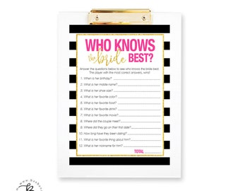 Black and White Stripes, Gold and Pink, Bridal Shower Who Knows the Bride Quiz Game - Printable