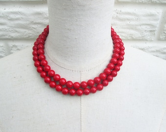 Cherry Red  Scarlet Double Strand Layered Beaded Necklace