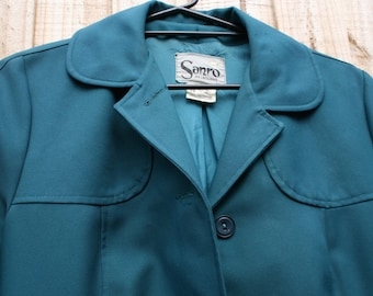 SANRO blue Trench Coat 60's Vintage Overcoat made in Melbourne. Size AU 16