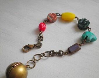 Vintage Zuni Bear Beaded Bracelet - Bohemian Glass & Stone Bead Ombre Retro Ball Locket Arm Candy - Boho Bear Animal Statement Jewelry Gift