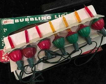 Vintage Mid-Century ACLA Bubbling Christmas Lights 7 Light String
