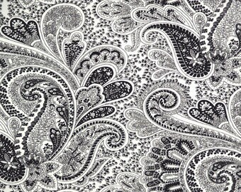 Pair of lined curtain panels drapes, Premier paisley black and white cotton