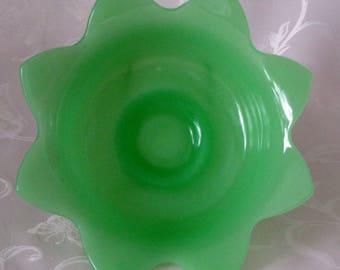 Vintage Jadeite Footed Glass Tulip Serving Bowl