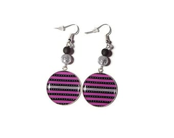 Earrings cabochon stripes Pink Silver and black beads polaris black and silver glitter / gift