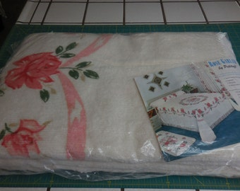 Sale - So Pretty NOS Rose Garland Vintage Chenille Bedspread with Shaded Pink Roses and Garlands  - Free Shipping