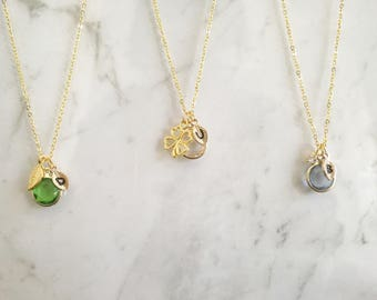Custom Birthstone Necklace, Personalize Birthstone Necklace for bff, Custom Birthstone Necklace with pendant, Birthstone Necklace Gift